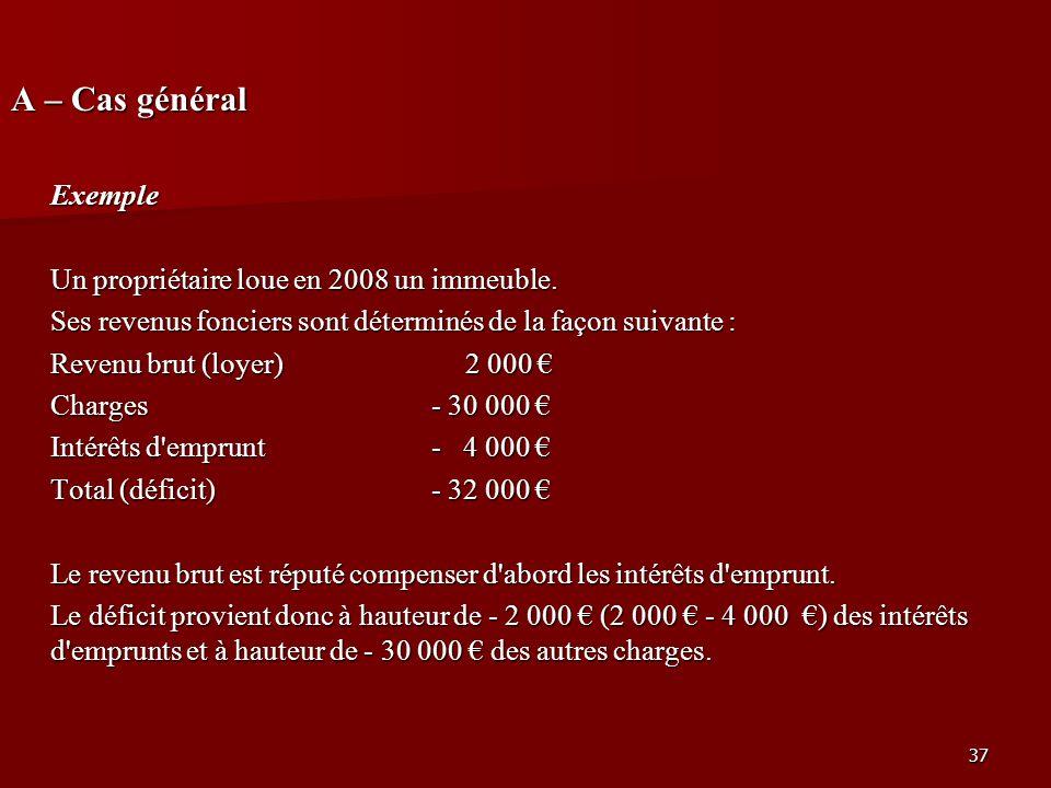 37 A – Cas général Exemple Un propriétaire loue en 2008 un immeuble. Ses revenus fonciers sont déterminés de la façon suivante : Revenu brut (loyer) 2
