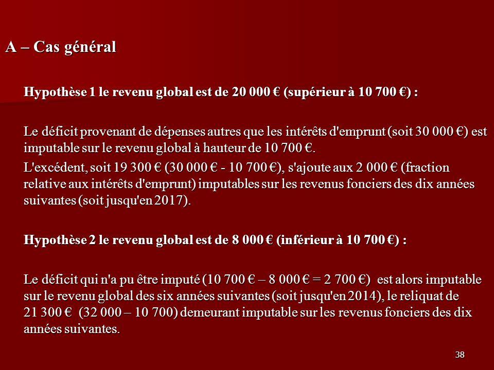 38 A – Cas général Hypothèse 1 le revenu global est de 20 000 (supérieur à 10 700 ) : Le déficit provenant de dépenses autres que les intérêts d'empru