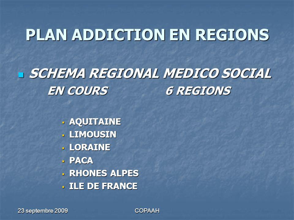 23 septembre 2009COPAAH PLAN ADDICTION EN REGIONS SCHEMA REGIONAL MEDICO SOCIAL SCHEMA REGIONAL MEDICO SOCIAL EN COURS6 REGIONS AQUITAINE AQUITAINE LI