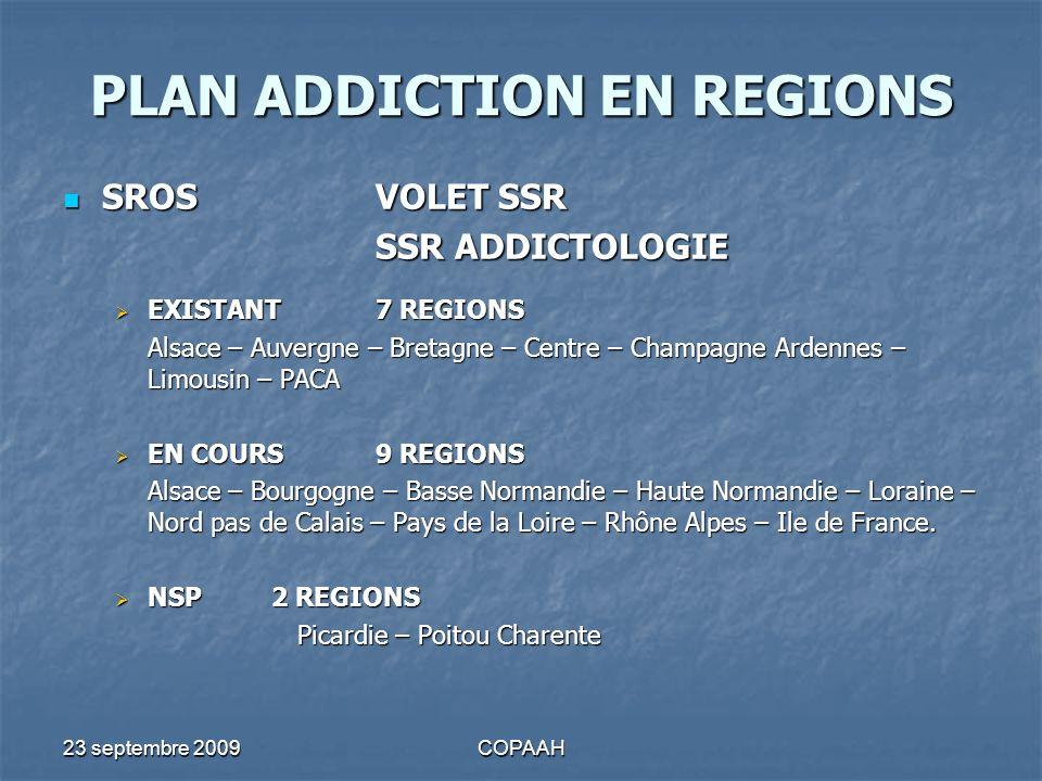 23 septembre 2009COPAAH PLAN ADDICTION EN REGIONS SROSVOLET SSR SROSVOLET SSR SSR ADDICTOLOGIE EXISTANT 7 REGIONS EXISTANT 7 REGIONS Alsace – Auvergne