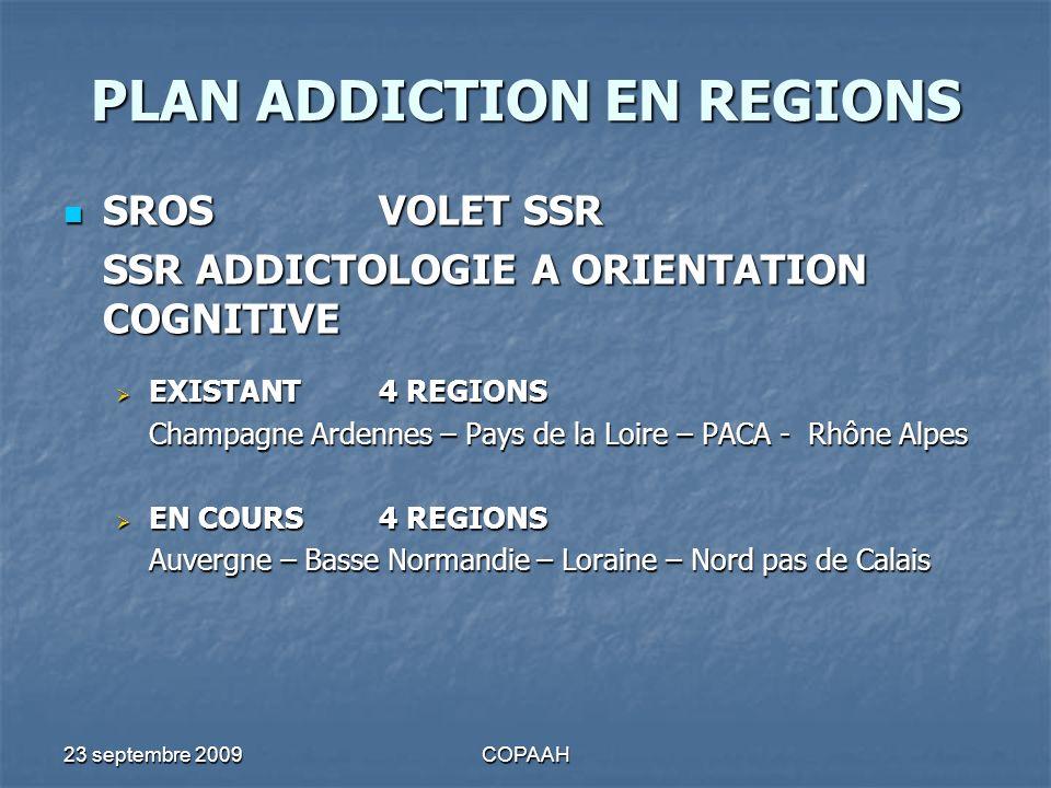 23 septembre 2009COPAAH PLAN ADDICTION EN REGIONS SROSVOLET SSR SROSVOLET SSR SSR ADDICTOLOGIE A ORIENTATION COGNITIVE EXISTANT 4 REGIONS EXISTANT 4 R