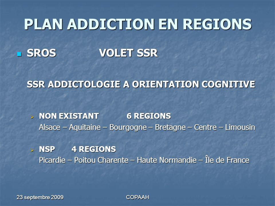 23 septembre 2009COPAAH PLAN ADDICTION EN REGIONS SROSVOLET SSR SROSVOLET SSR SSR ADDICTOLOGIE A ORIENTATION COGNITIVE NON EXISTANT 6 REGIONS NON EXIS