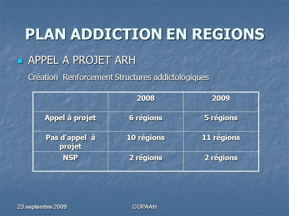 23 septembre 2009COPAAH PLAN ADDICTION EN REGIONS APPEL A PROJET ARH APPEL A PROJET ARH Création Renforcement Structures addictologiques 20082009 Appe