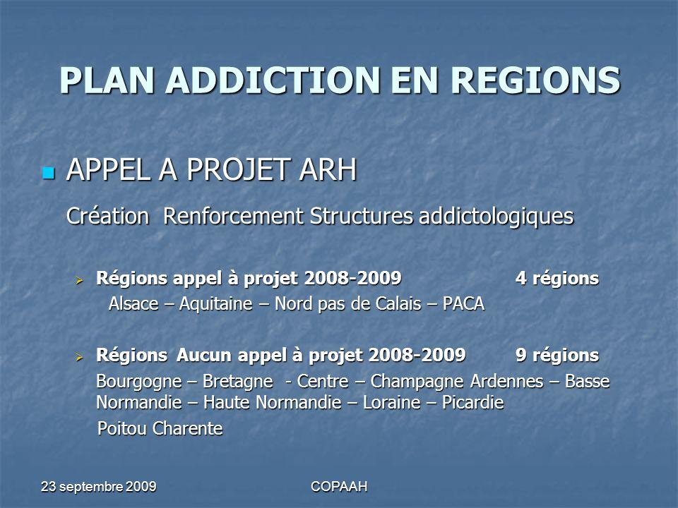 23 septembre 2009COPAAH PLAN ADDICTION EN REGIONS APPEL A PROJET ARH APPEL A PROJET ARH Création Renforcement Structures addictologiques Régions appel