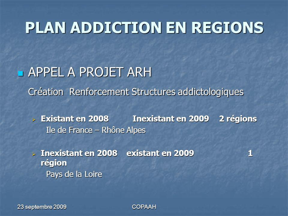 23 septembre 2009COPAAH PLAN ADDICTION EN REGIONS APPEL A PROJET ARH APPEL A PROJET ARH Création Renforcement Structures addictologiques Existant en 2