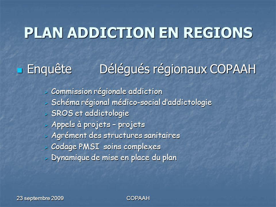 23 septembre 2009COPAAH PLAN ADDICTION EN REGIONS EnquêteDélégués régionauxCOPAAH EnquêteDélégués régionauxCOPAAH Commission régionale addiction Commi