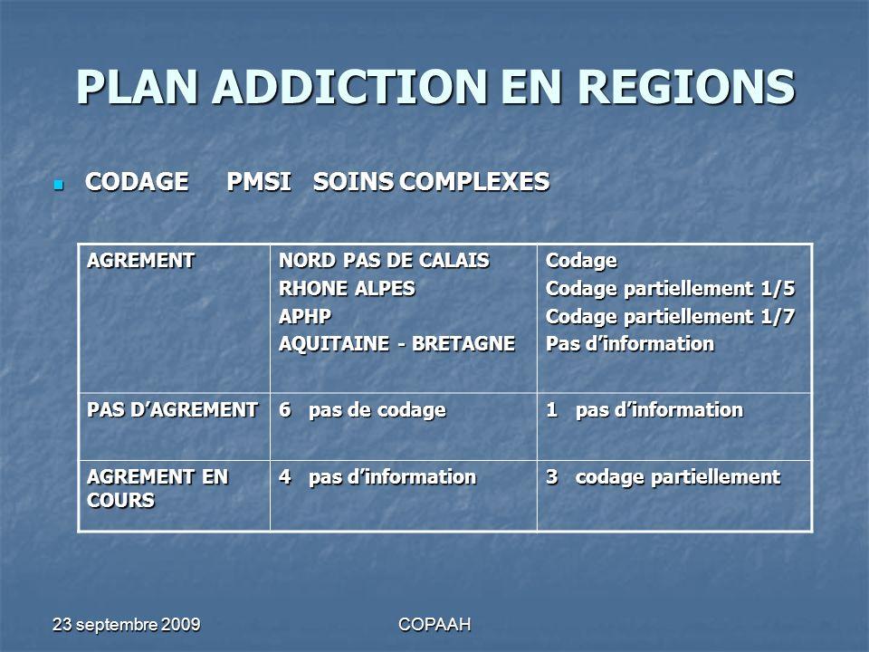 23 septembre 2009COPAAH PLAN ADDICTION EN REGIONS CODAGEPMSISOINS COMPLEXES CODAGEPMSISOINS COMPLEXES AGREMENT NORD PAS DE CALAIS RHONE ALPES APHP AQU