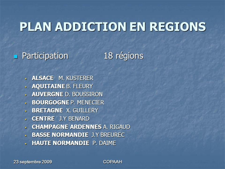 23 septembre 2009COPAAH PLAN ADDICTION EN REGIONS SROSVOLET SSR SROSVOLET SSR SSR ADDICTOLOGIE A ORIENTATION COGNITIVE EXISTANT 4 REGIONS EXISTANT 4 REGIONS Champagne Ardennes – Pays de la Loire – PACA - Rhône Alpes EN COURS 4 REGIONS EN COURS 4 REGIONS Auvergne – Basse Normandie – Loraine – Nord pas de Calais