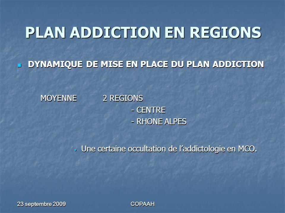 23 septembre 2009COPAAH PLAN ADDICTION EN REGIONS DYNAMIQUE DE MISE EN PLACE DU PLAN ADDICTION DYNAMIQUE DE MISE EN PLACE DU PLAN ADDICTION MOYENNE2 R