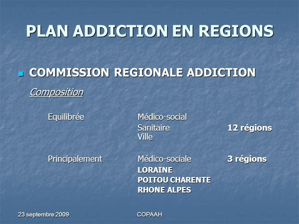 23 septembre 2009COPAAH PLAN ADDICTION EN REGIONS COMMISSION REGIONALE ADDICTION COMMISSION REGIONALE ADDICTION Date de création 1er semestre 20083 2ème semestre 20087 1er semestre 20094