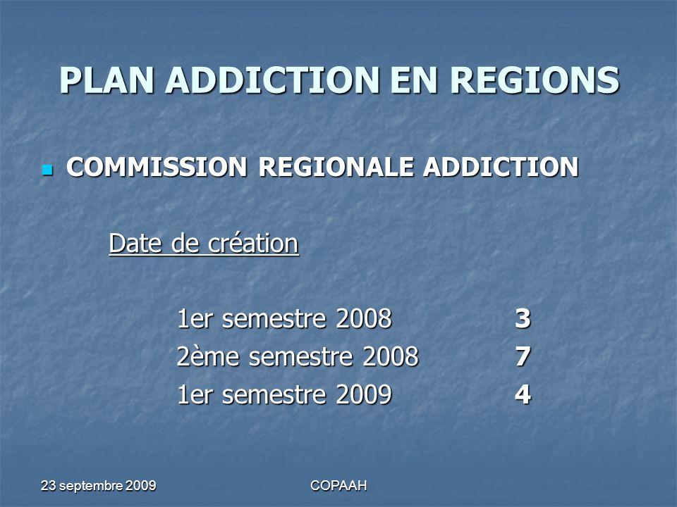 23 septembre 2009COPAAH PLAN ADDICTION EN REGIONS COMMISSION REGIONALE ADDICTION COMMISSION REGIONALE ADDICTION Date de création 1er semestre 20083 2è