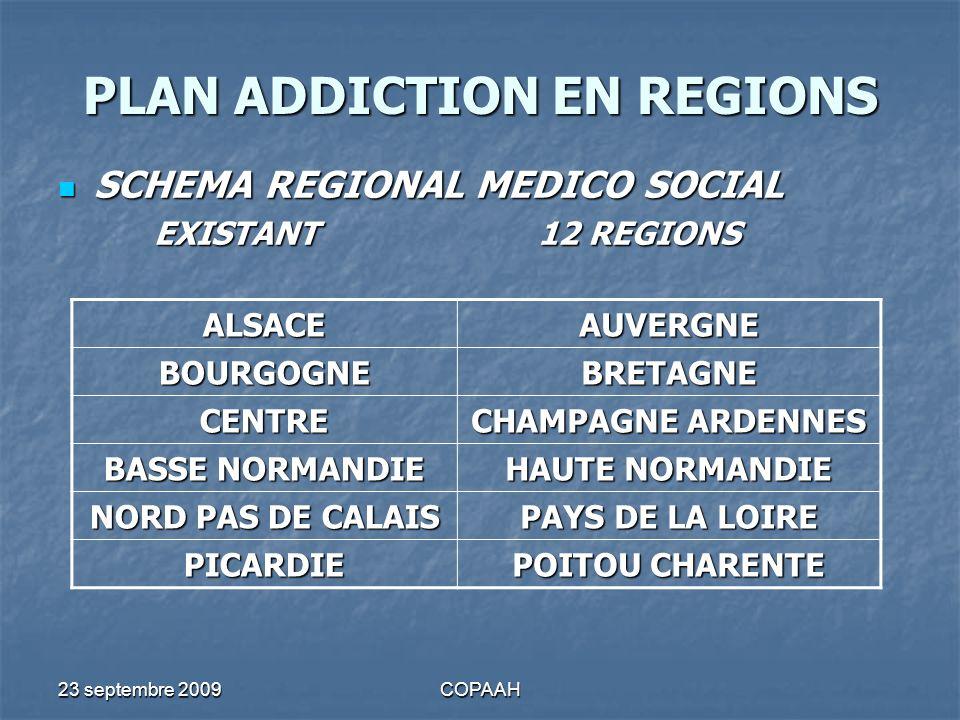 23 septembre 2009COPAAH PLAN ADDICTION EN REGIONS SCHEMA REGIONAL MEDICO SOCIAL SCHEMA REGIONAL MEDICO SOCIAL EXISTANT12 REGIONS ALSACEAUVERGNE BOURGO