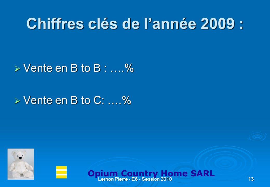 Lernon Pierre - E6 - Session 201013 Chiffres clés de lannée 2009 : Vente en B to B : ….% Vente en B to C: ….% Opium Country Home SARL