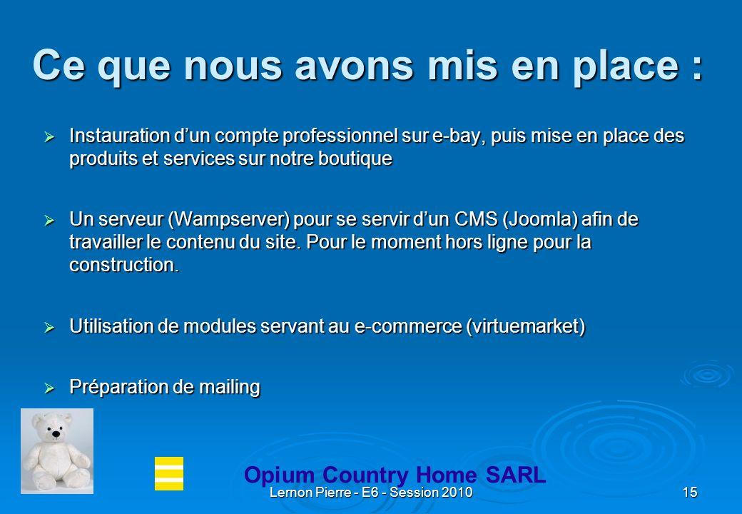 Lernon Pierre - E6 - Session 201015 Ce que nous avons mis en place : Instauration dun compte professionnel sur e-bay, puis mise en place des produits