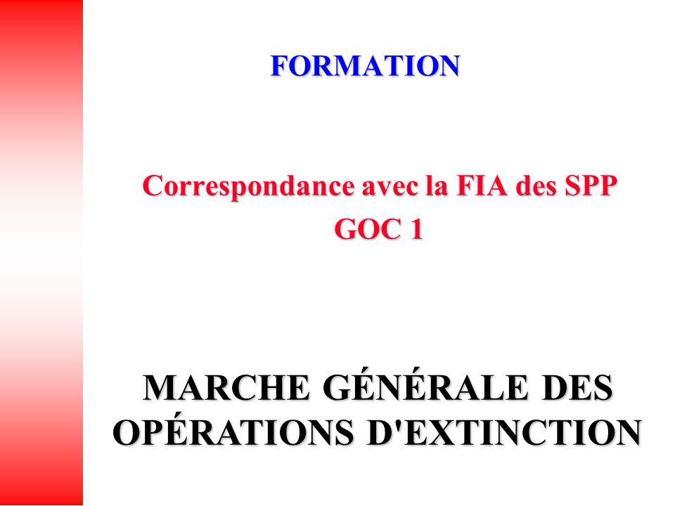 FORMATION Correspondance avec la FIA des SPP GOC 1 MARCHE GÉNÉRALE DES OPÉRATIONS D EXTINCTION
