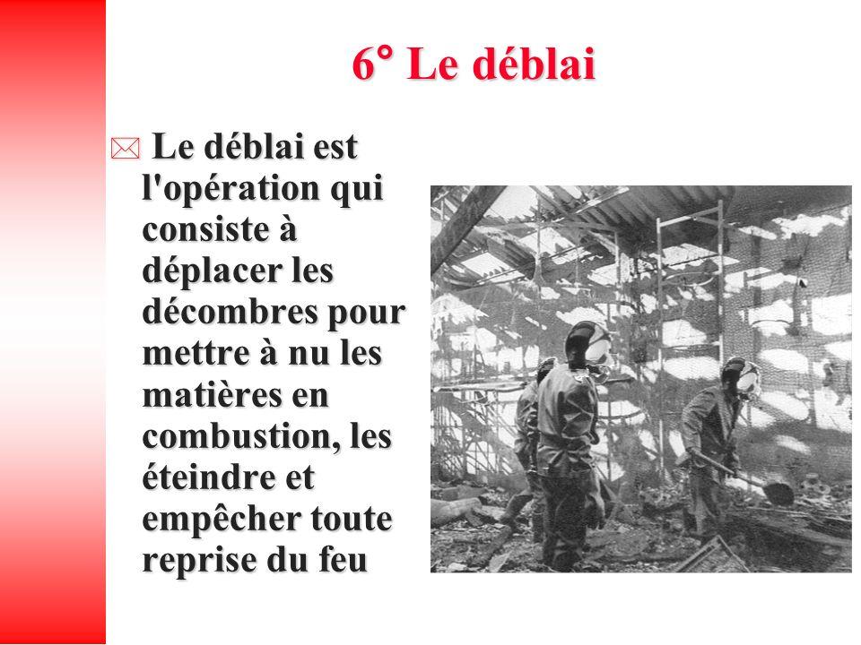 6° Le déblai Le déblai est l'opération qui consiste à déplacer les décombres pour mettre à nu les matières en combustion, les éteindre et empêcher tou