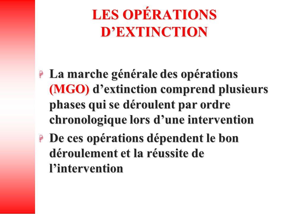 LES OPÉRATIONS DEXTINCTION La marche générale des opérations (MGO) dextinction comprend plusieurs phases qui se déroulent par ordre chronologique lors