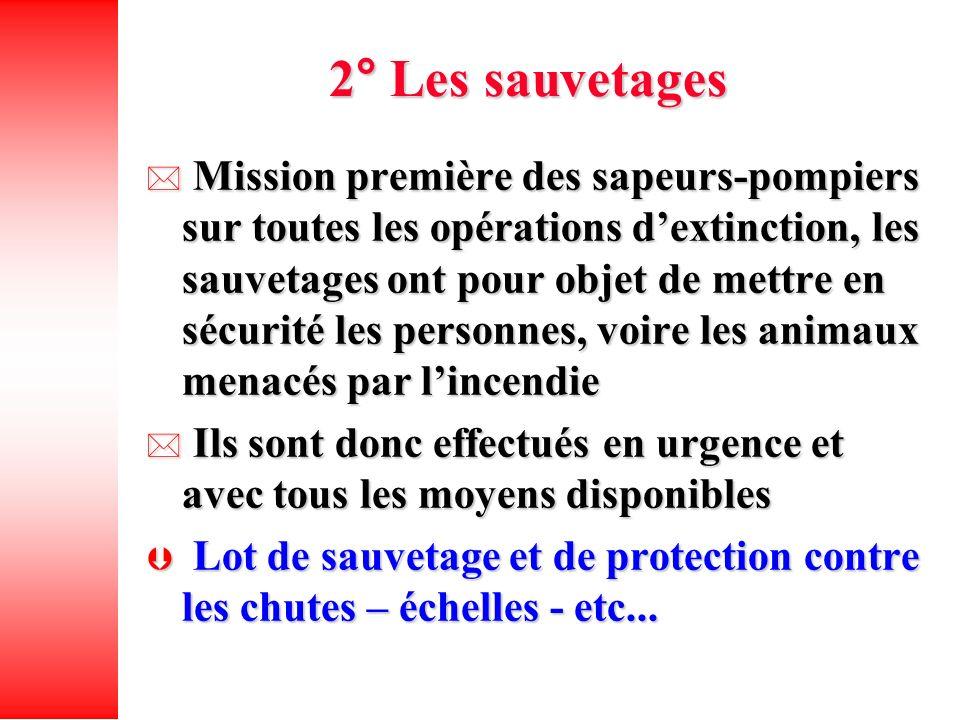 2° Les sauvetages Mission première des sapeurs-pompiers sur toutes les opérations dextinction, les sauvetages ont pour objet de mettre en sécurité les