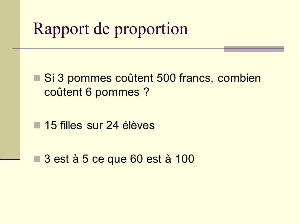 Rapport de proportion Si 3 pommes coûtent 500 francs, combien coûtent 6 pommes .