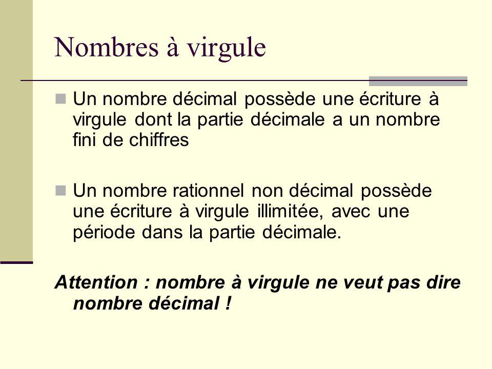 Nombres à virgule Un nombre décimal possède une écriture à virgule dont la partie décimale a un nombre fini de chiffres Un nombre rationnel non décimal possède une écriture à virgule illimitée, avec une période dans la partie décimale.