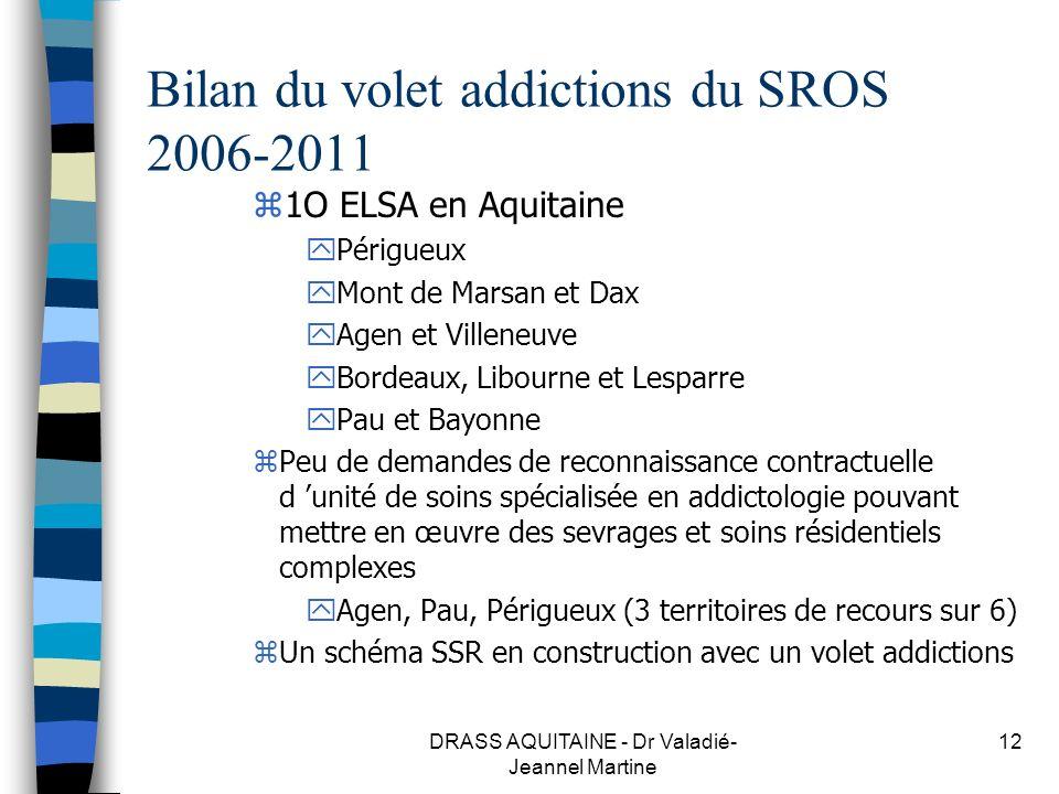DRASS AQUITAINE - Dr Valadié- Jeannel Martine 12 Bilan du volet addictions du SROS 2006-2011 z1O ELSA en Aquitaine yPérigueux yMont de Marsan et Dax y