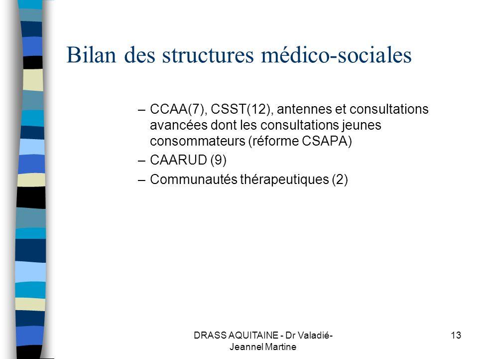 DRASS AQUITAINE - Dr Valadié- Jeannel Martine 13 Bilan des structures médico-sociales –CCAA(7), CSST(12), antennes et consultations avancées dont les
