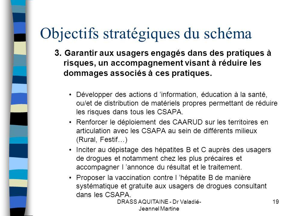DRASS AQUITAINE - Dr Valadié- Jeannel Martine 19 Objectifs stratégiques du schéma 3. Garantir aux usagers engagés dans des pratiques à risques, un acc