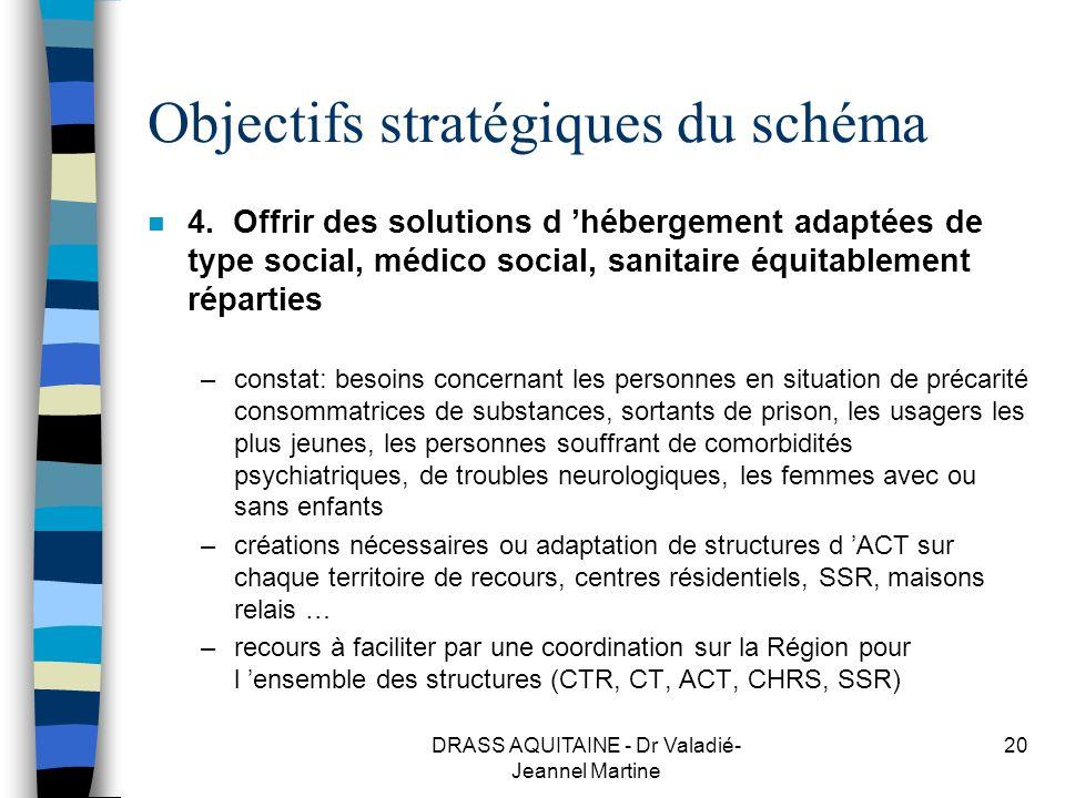 DRASS AQUITAINE - Dr Valadié- Jeannel Martine 20 Objectifs stratégiques du schéma n 4. Offrir des solutions d hébergement adaptées de type social, méd