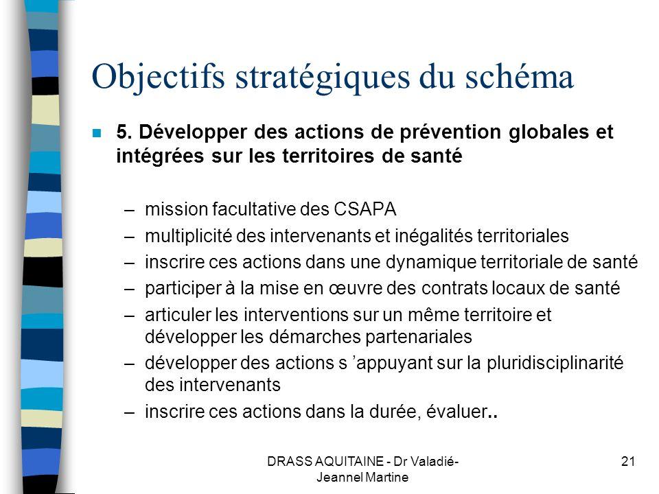 DRASS AQUITAINE - Dr Valadié- Jeannel Martine 21 Objectifs stratégiques du schéma n 5. Développer des actions de prévention globales et intégrées sur