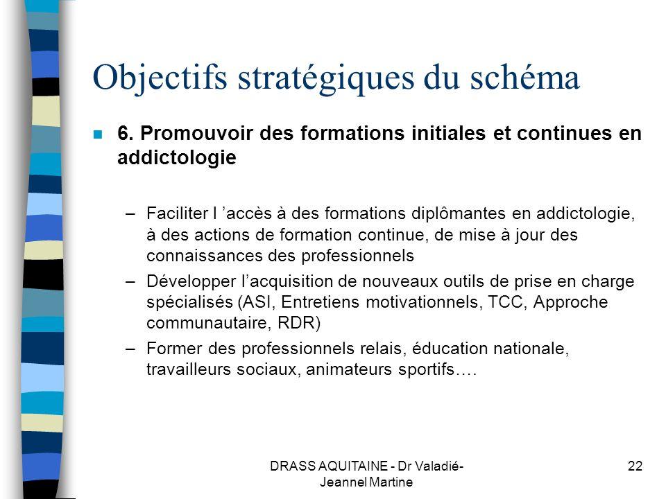 DRASS AQUITAINE - Dr Valadié- Jeannel Martine 22 Objectifs stratégiques du schéma n 6. Promouvoir des formations initiales et continues en addictologi
