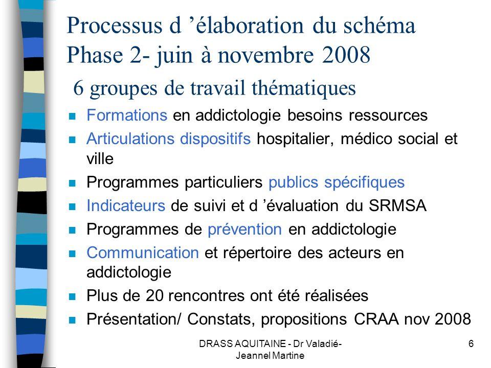 DRASS AQUITAINE - Dr Valadié- Jeannel Martine 6 Processus d élaboration du schéma Phase 2- juin à novembre 2008 6 groupes de travail thématiques n For