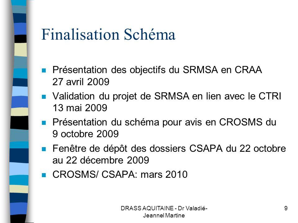 DRASS AQUITAINE - Dr Valadié- Jeannel Martine 9 Finalisation Schéma n Présentation des objectifs du SRMSA en CRAA 27 avril 2009 n Validation du projet