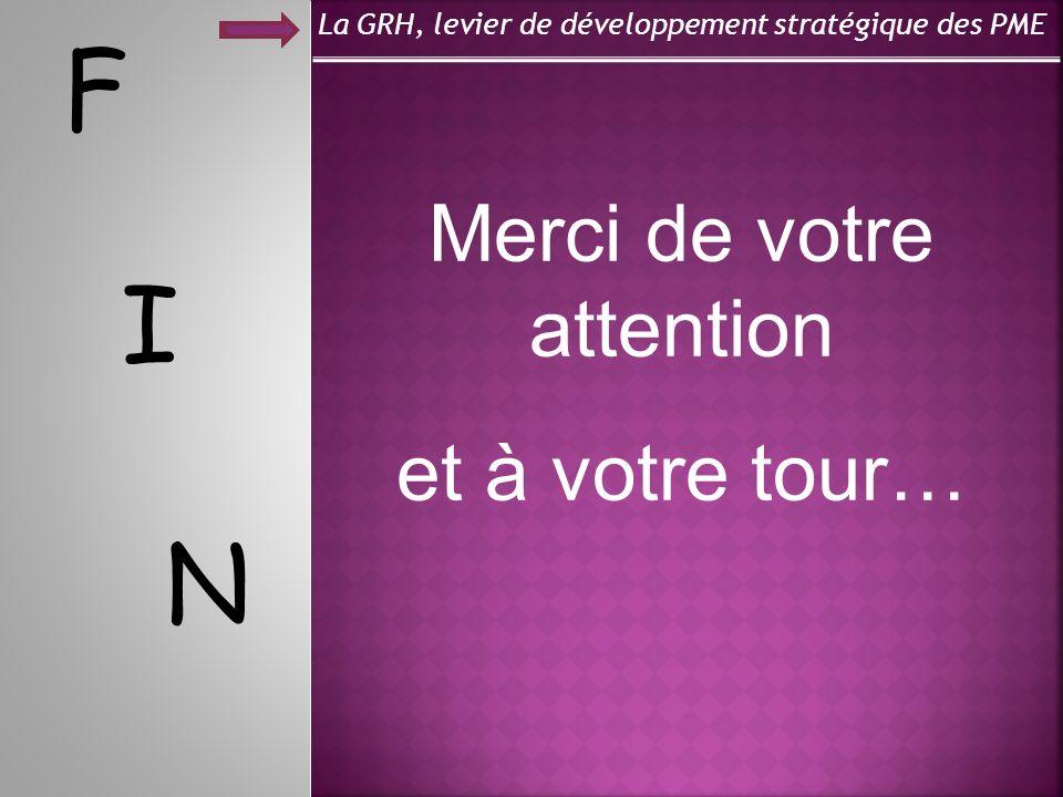 La GRH, levier de développement stratégique des PME F Merci de votre attention et à votre tour… I N