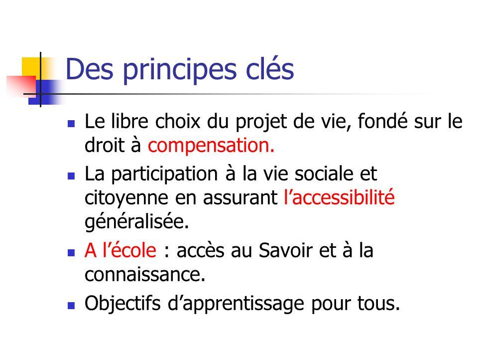 Des principes clés Le libre choix du projet de vie, fondé sur le droit à compensation.
