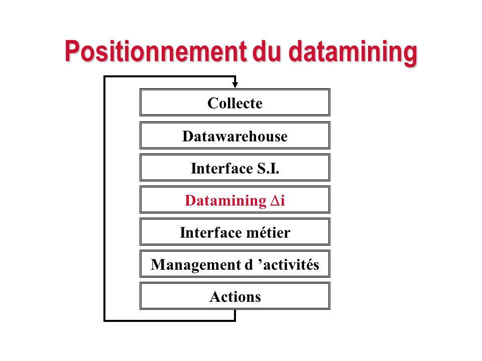 Positionnement du datamining Collecte Datawarehouse Interface S.I. Datamining i Interface métier Management d activités Actions