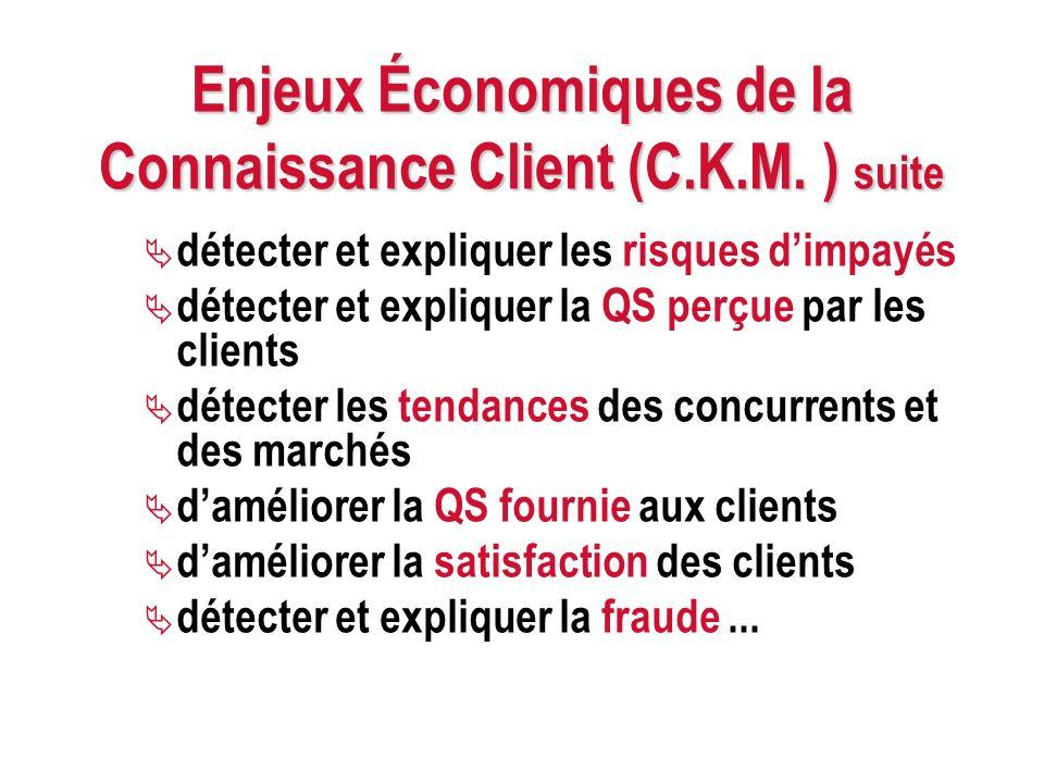 Enjeux Économiques de la Connaissance Client (C.K.M. ) suite détecter et expliquer les risques dimpayés détecter et expliquer la QS perçue par les cli