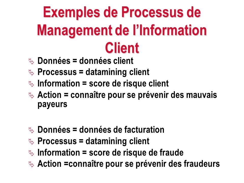 Exemples de Processus de Management de lInformation Client Données = données client Processus = datamining client Information = score de risque client