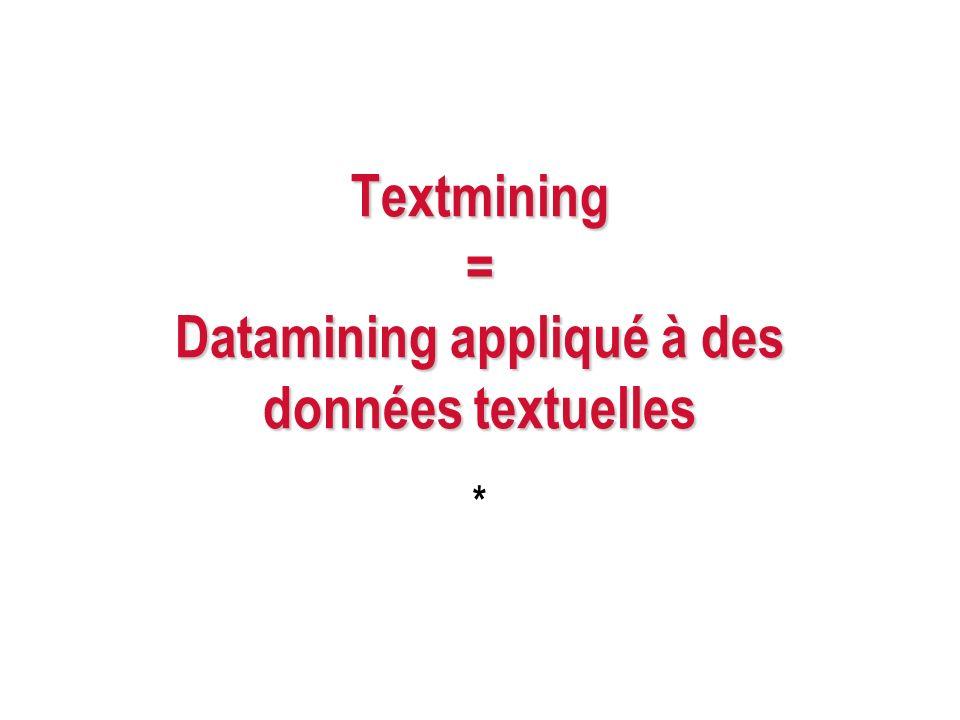 Textmining = Datamining appliqué à des données textuelles *