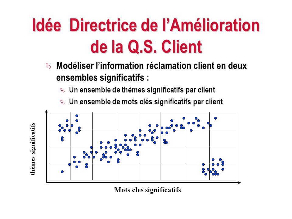 Idée Directrice de lAmélioration de la Q.S. Client Modéliser linformation réclamation client en deux ensembles significatifs : Un ensemble de thèmes s