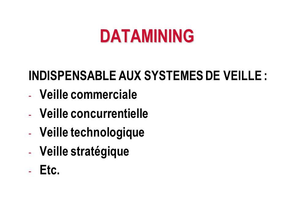 DATAMINING INDISPENSABLE AUX SYSTEMES DE VEILLE : - Veille commerciale - Veille concurrentielle - Veille technologique - Veille stratégique - Etc.