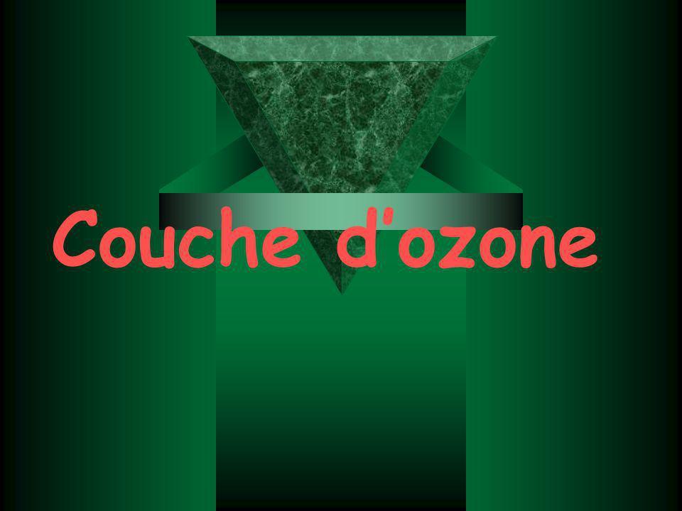 Présentation: La couche d ozone ou ozonosph è re d é signe la partie de la stratosph è re contenant une quantit é relativement importante d ozone (concentration de l ordre d un pour cent mille).