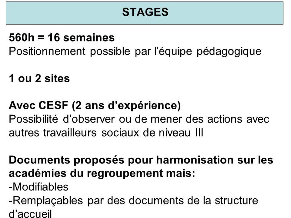 STAGES 560h = 16 semaines Positionnement possible par léquipe pédagogique 1 ou 2 sites Avec CESF (2 ans dexpérience) Possibilité dobserver ou de mener