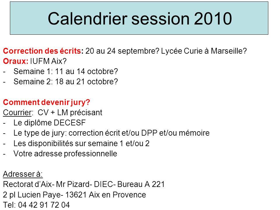 Calendrier session 2010 Correction des écrits: 20 au 24 septembre? Lycée Curie à Marseille? Oraux: IUFM Aix? -Semaine 1: 11 au 14 octobre? -Semaine 2: