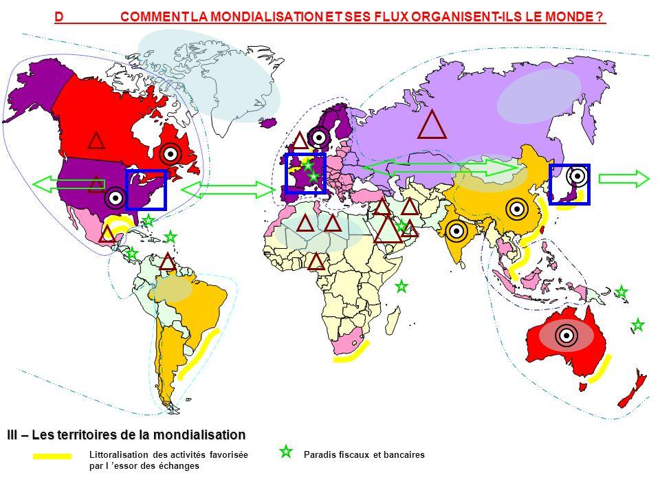 III – Les territoires de la mondialisation Littoralisation des activités favorisée par l essor des échanges Paradis fiscaux et bancaires DCOMMENT LA M