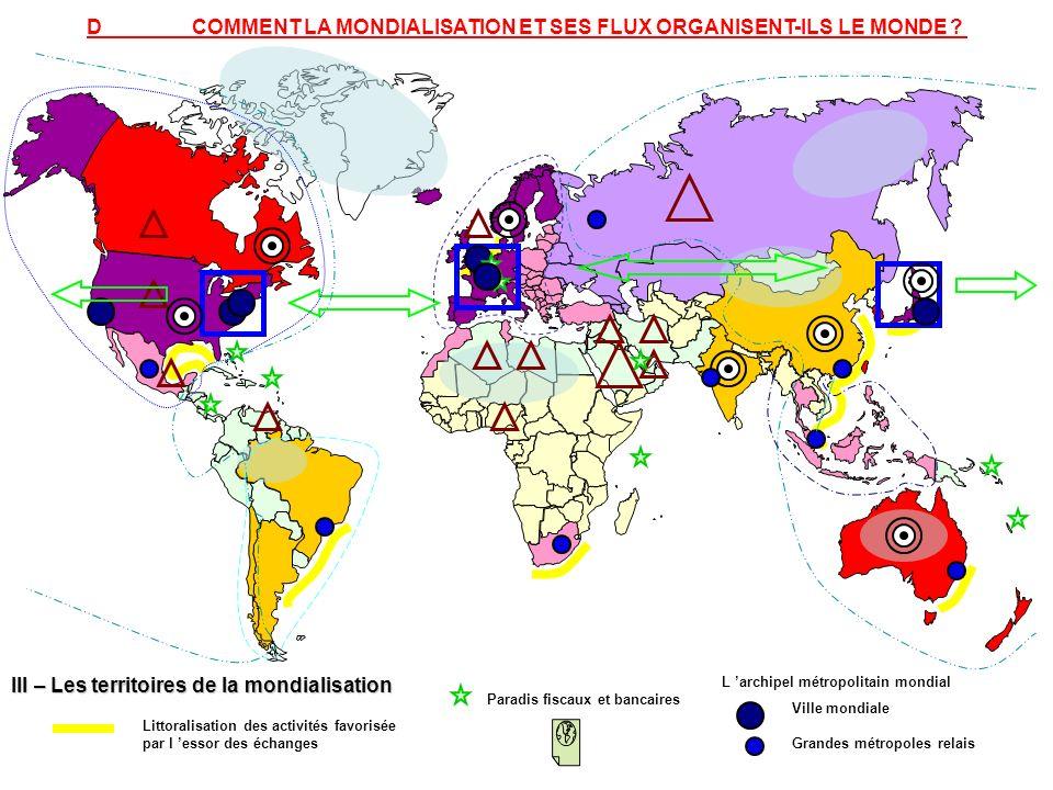 III – Les territoires de la mondialisation Littoralisation des activités favorisée par l essor des échanges Paradis fiscaux et bancaires Ville mondial