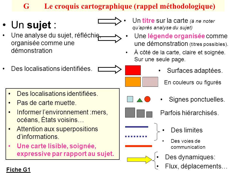 GLe croquis cartographique (rappel méthodologique) Un sujet : Un titre sur la carte (à ne noter quaprès analyse du sujet) Une analyse du sujet, réfléc