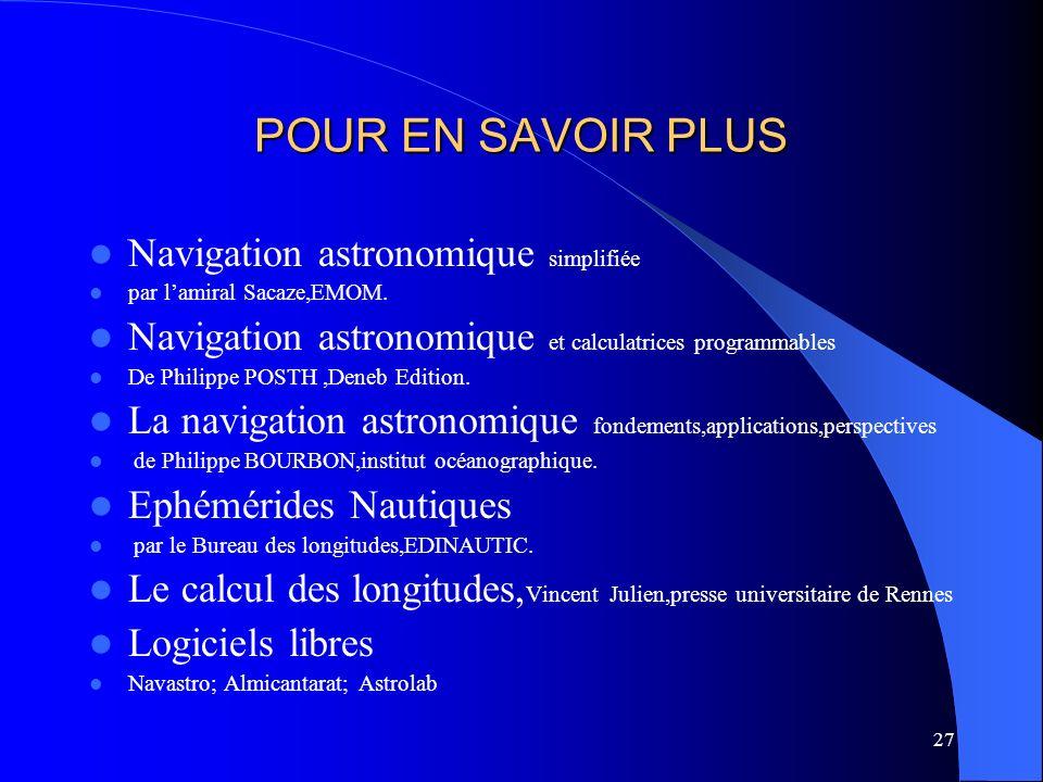 27 POUR EN SAVOIR PLUS Navigation astronomique simplifiée par lamiral Sacaze,EMOM. Navigation astronomique et calculatrices programmables De Philippe