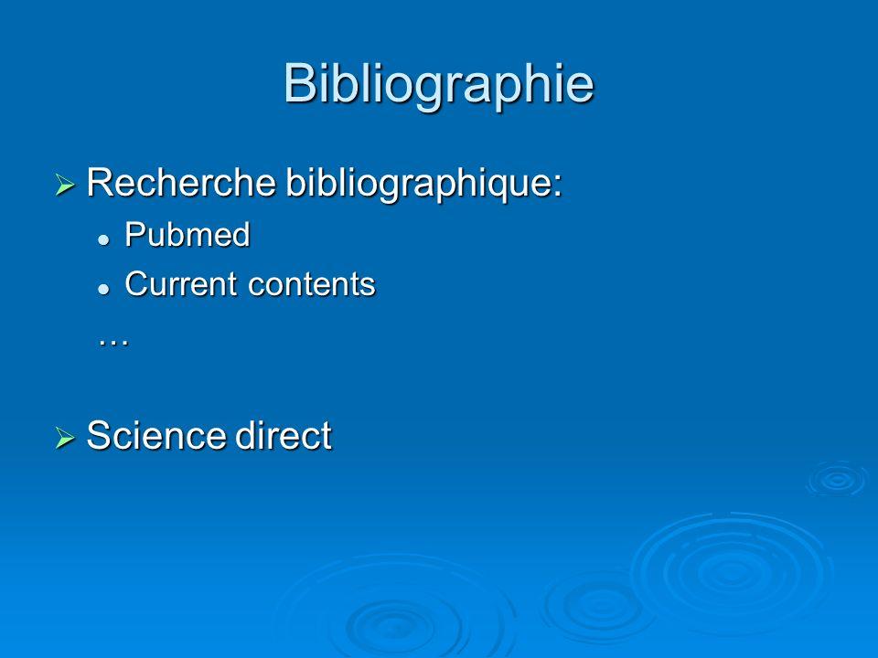 Bibliographie Recherche bibliographique: Recherche bibliographique: Pubmed Pubmed Current contents Current contents… Science direct Science direct