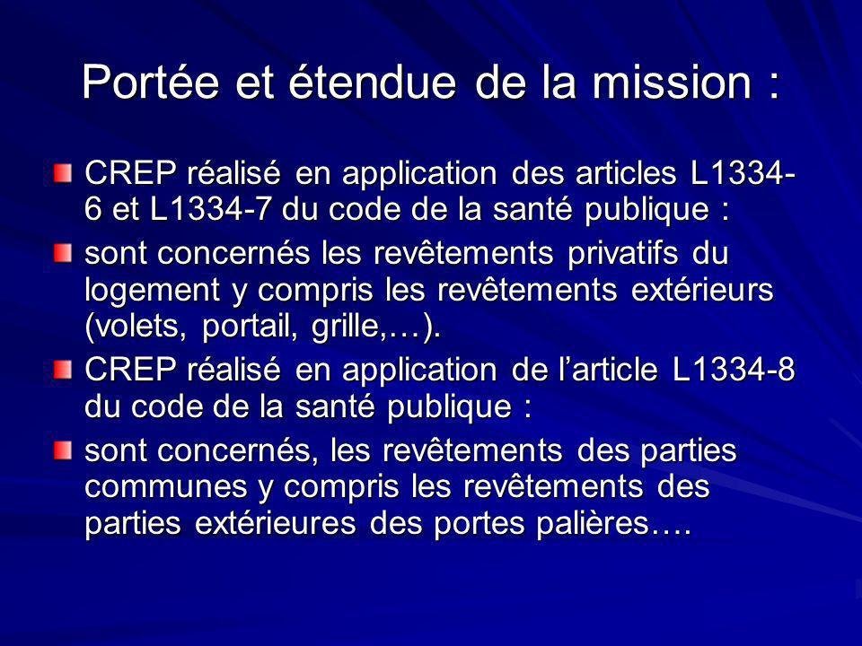 Portée et étendue de la mission : CREP réalisé en application des articles L1334- 6 et L1334-7 du code de la santé publique : sont concernés les revêtements privatifs du logement y compris les revêtements extérieurs (volets, portail, grille,…).