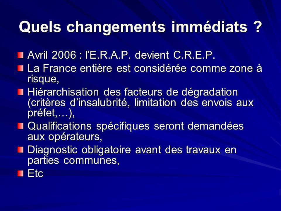 Quels changements immédiats ? Avril 2006 : lE.R.A.P. devient C.R.E.P. La France entière est considérée comme zone à risque, Hiérarchisation des facteu